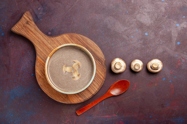 Top view mushroom soup on the dark space