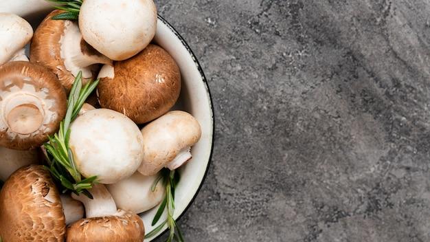 Top view mushrooms in bowl
