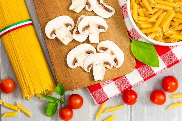 Top view of mushrooms and pasta