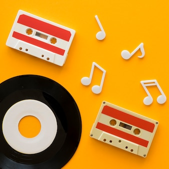 Top view of music concept with casette
