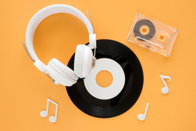Top view of music concept with vinyl