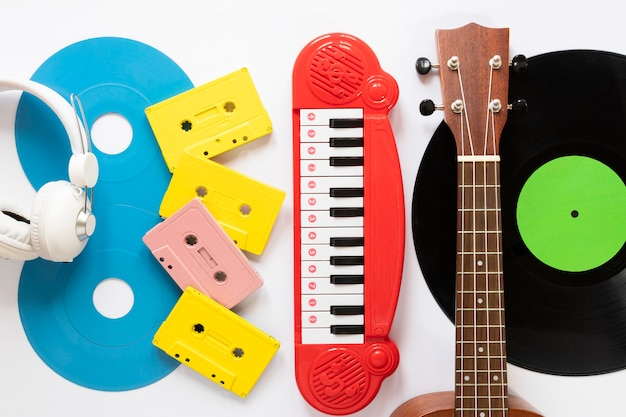 Top view musical instruments with white background