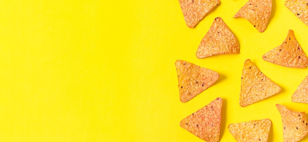 Top view of nacho chips with copy space