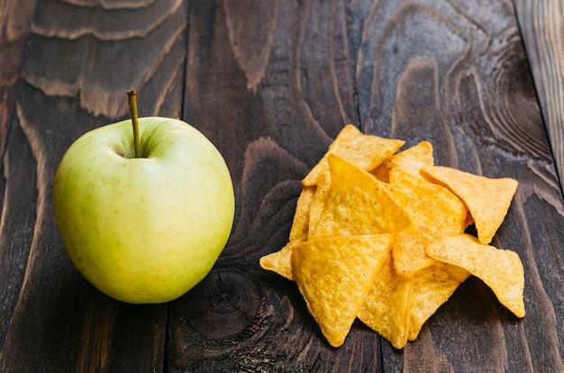 Top view nachos vs apple