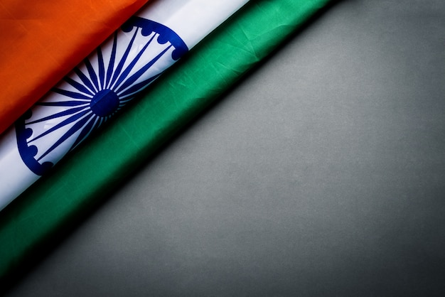 Top view of national flag of india on gray background