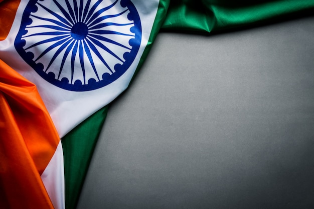 Top view of national flag of india on gray