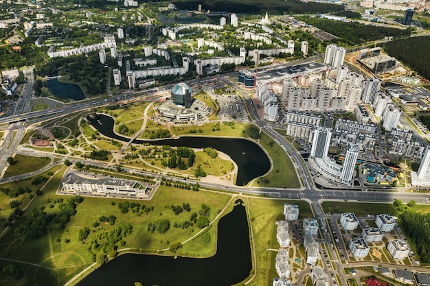 Top view of the national library and a new neighborhood with a park in minsk
