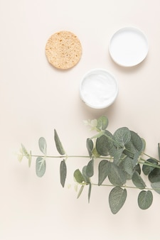 Top view of natural body butter and leaves on plain background