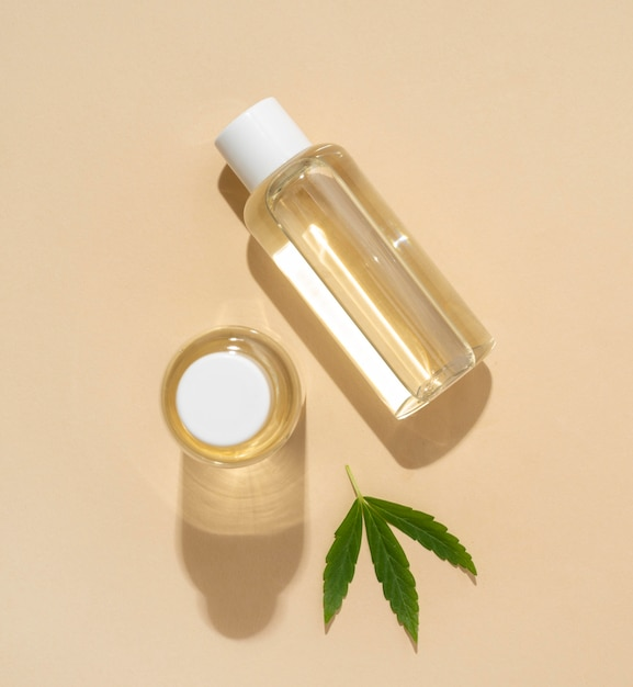 Top view natural cannabis oil bottle assortment