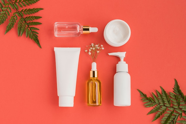 Top view of natural cosmetics concept