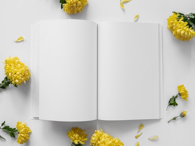 上面図自然の葉と白い雑誌