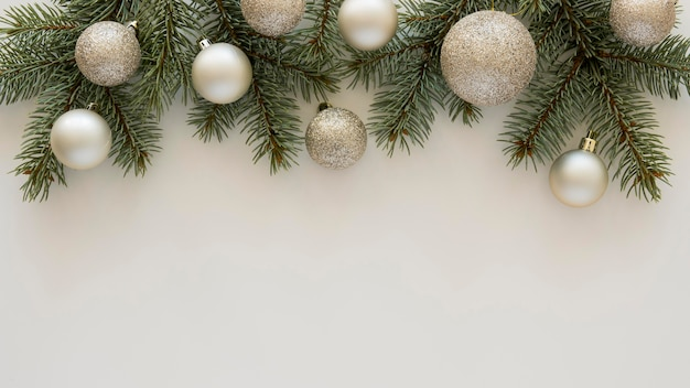 Top view natural pine needles and christmas balls