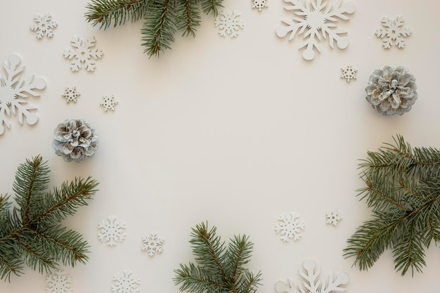 Top view natural pine needles with snowflakes