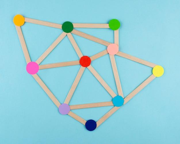 Concetto di rete vista dall'alto con punti colorati