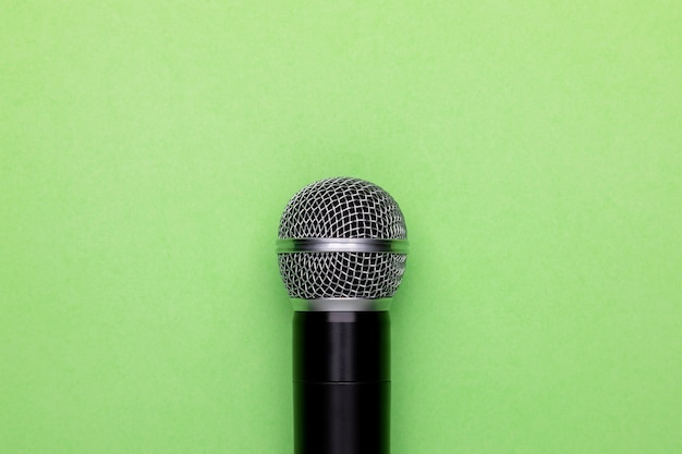 Top view new black wireless microphone.