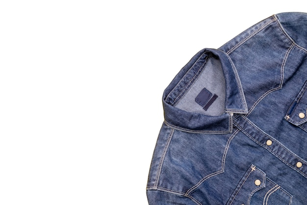 Top view new blue jean jacket isolated