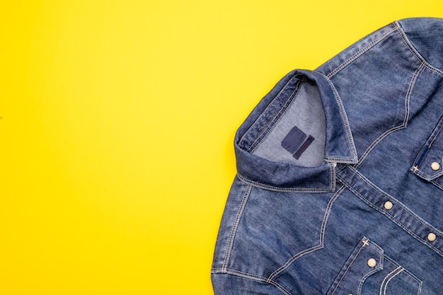 Top view new blue jean jacket