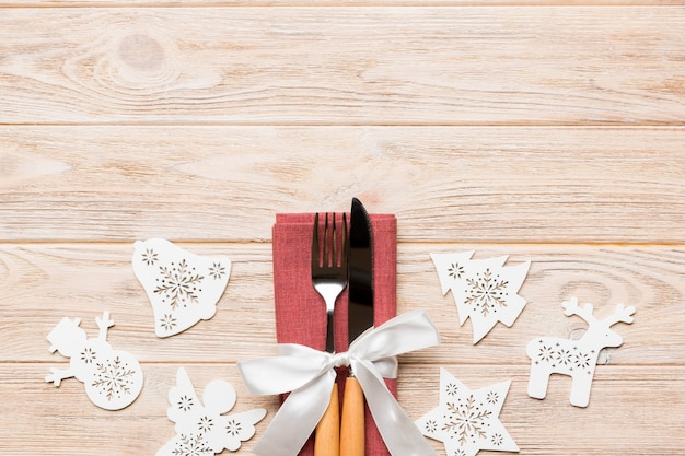 Top view of new year dinner on wooden surface