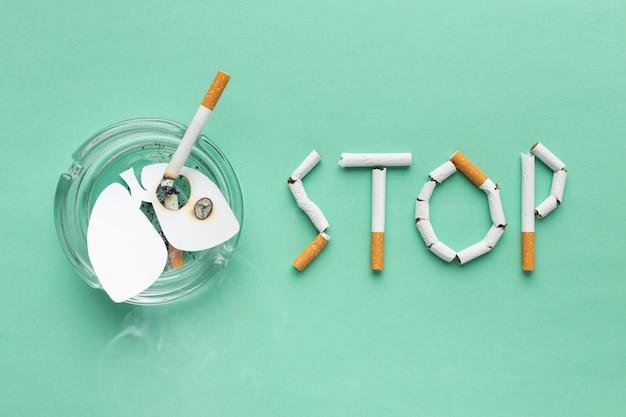 Assortimento di elementi giorno senza tabacco vista dall'alto