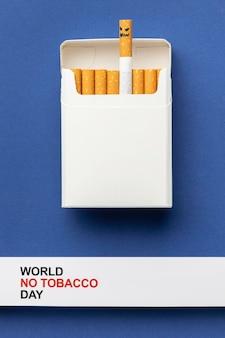Vista dall'alto senza composizione di elementi di giorno di tabacco