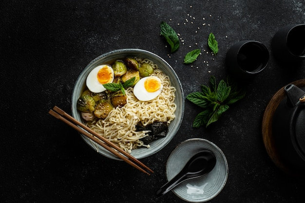 Top view noodles in a bowl assortment