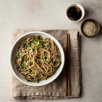 Top view noodles in a bowl composition