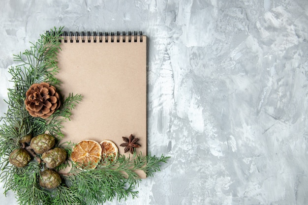Top view notebook dried lemon slices anises pine tree branches on grey background with free space