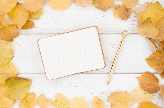 Top view notebook with autumn leaves frame