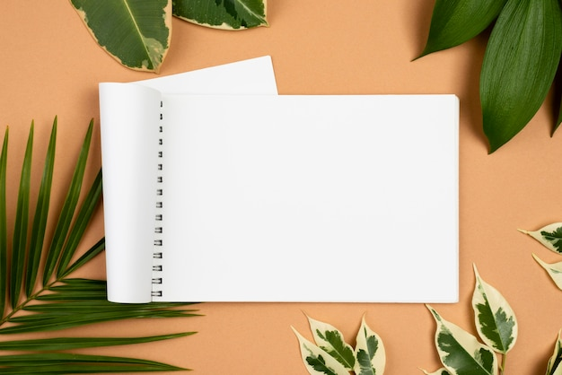 Top view of notebook with different plant leaves