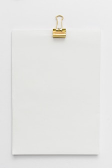 Top view notebook with paperclip