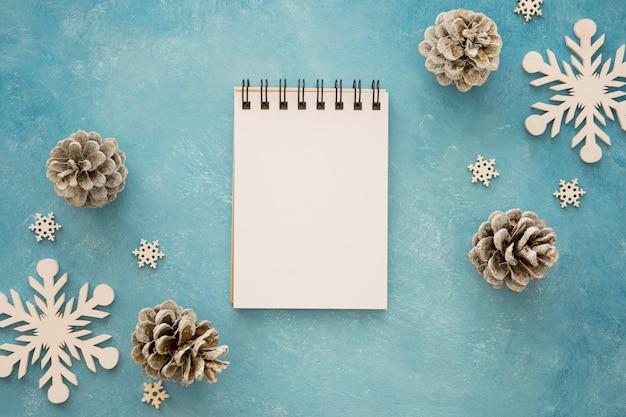 Top view notepad surrounded by conifer pine cones