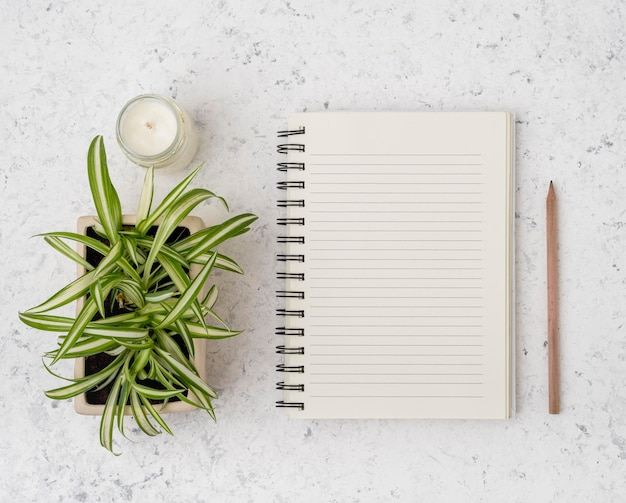 Top view notepad with plants and candle