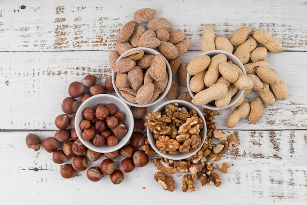 Top view of nuts arrangement