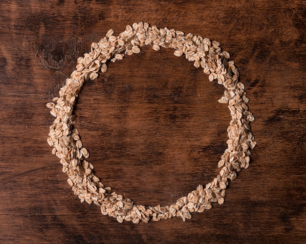 Top view oatmeal circular frame