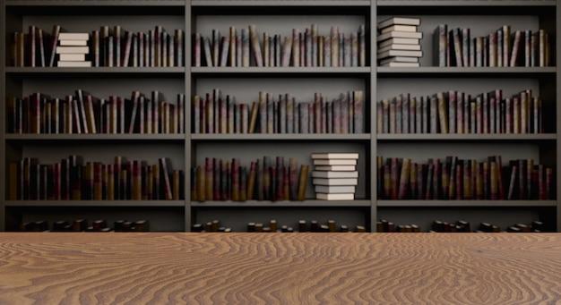 Вид сверху письменного стола с библиотечными полками на заднем плане. 3d рендеринг