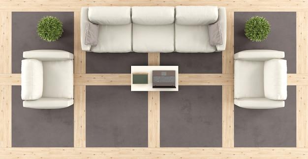 ソファ付きのモダンなリビングルームの上面図