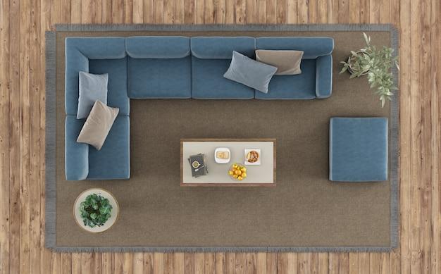 Вид сверху современной гостиной с белым диваном и журнальным столиком на ковре - 3d-рендеринг
