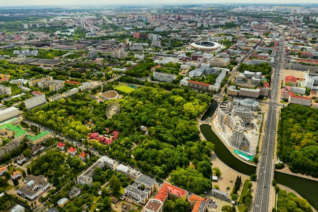 観覧車のあるミンスクの公園の平面図。ミンスクの街の鳥瞰図。ベラルーシ。
