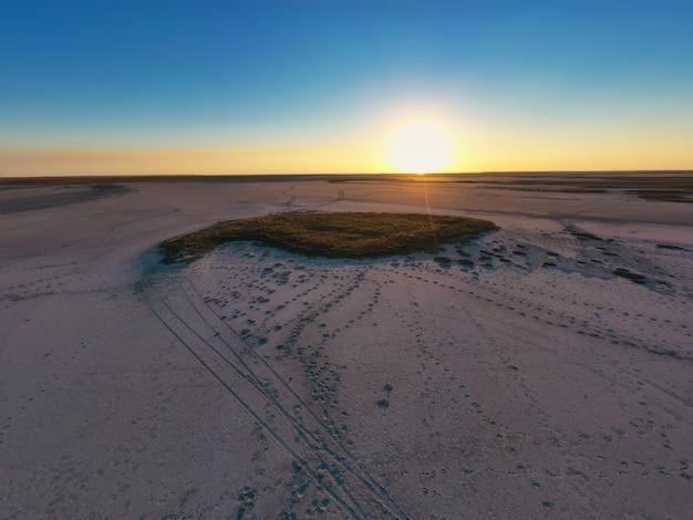 잔디와 관목의 큰 패치가있는 모래 늪의 상위 뷰