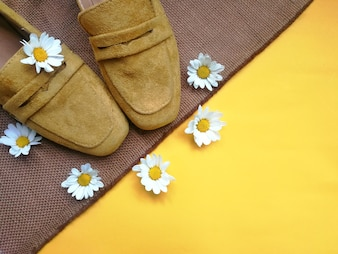 Top view of a simple set of workspace shoes yellow-mustard,sweetie daisy.