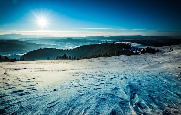 雪に覆われた広々としたゲレンデの平面図