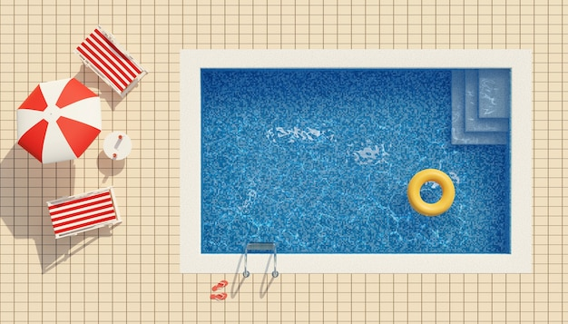 Вид сверху на бассейн, шезлонги и зонтик. летняя концепция.