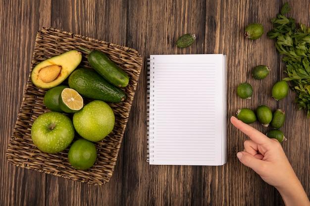 Вид сверху плетеного подноса со свежими фруктами, такими как зеленые яблоки, фейхоас, лайм, петрушка и фейхоа, изолированные на деревянном фоне с копией пространства