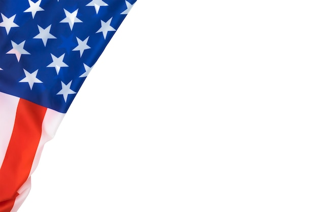 Вид сверху американского флага на белом фоне