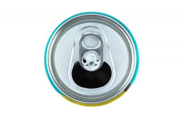 Вид сверху алюминиевой банки для безалкогольных напитков