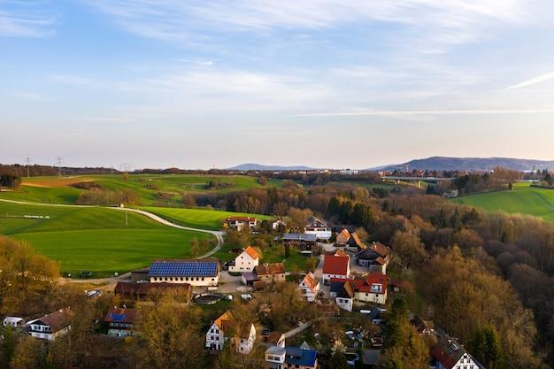 サクソンスイスの秋の村の平面図。ドイツ