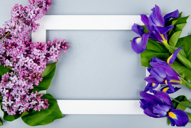 Вид сверху пустой рамки с темно-фиолетовыми ирисами и сиреневыми цветами на светло-сером фоне с копией пространства
