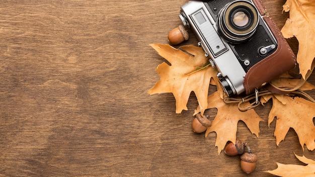 Вид сверху осенних листьев с камерой и желудями