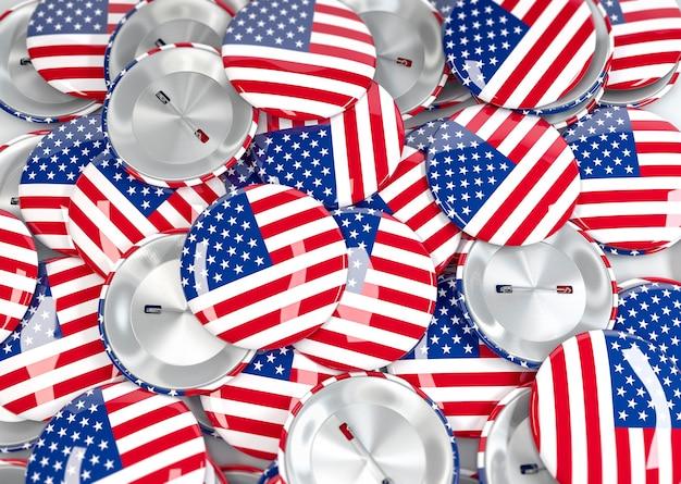 アメリカ国旗のバッジの上面図。 3dリアルレンダリング