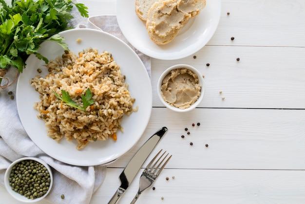 Вид сверху пищевой концепции фасоли